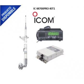 Kit de radio IC-M700pro con sintonizador de antena AT-130 y antena HF Shakespeare 390