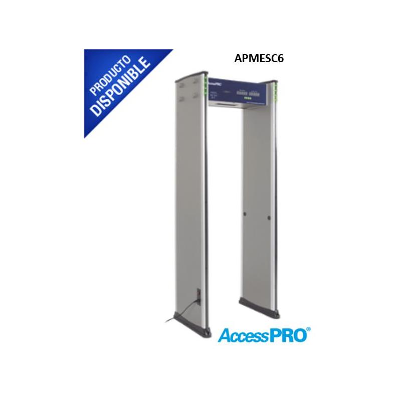 Detector de metales de 6 zonas/ Uso en Interior/Programación con Control Remoto / Contador