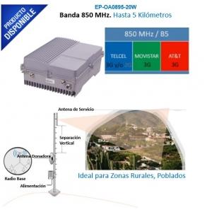 Amplificador de Señal Celular de ALTA PROTENCIA: Especial para cobertura en Áreas Rurales o Comunidades Alejadas. 95 dB de Ganancia, 20 W