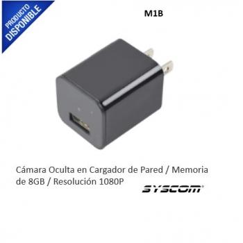 Cámara Oculta en Cargador de Pared / Memoria de 8GB / Resolución 1080P / Grabación Continua o por Movimiento