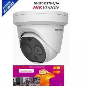 Turret IP Dual / Térmica 3.1 mm (320X 240) / Óptico 4 mm (4 Megapixel) / 15 mts IR / IP66 / PoE / Termométrica / Detección de Temperatura
