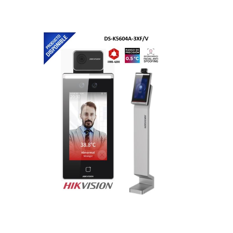 Solución Plug & Play de Acceso con Reconocimiento Facial y Medición de temperatura corporal / Alerta por temperatura fuera de rango / WiFi / Pedestal