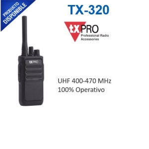 Radio Portátil UHF 400-470 MHz, 16 canales, 2 Watts de potencia, SÚPER Bajo Costo