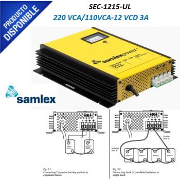 Cargador Industrial de Baterías, 110 / 220 VCA, 12 VCD de Salida, 15 Amp. SEC-1215-UL