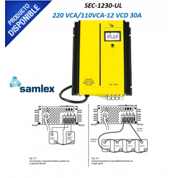 Cargador Industrial de Baterías, 110 / 220 VCA, 12 VCD salida, 30 Amp. SEC-1230UL