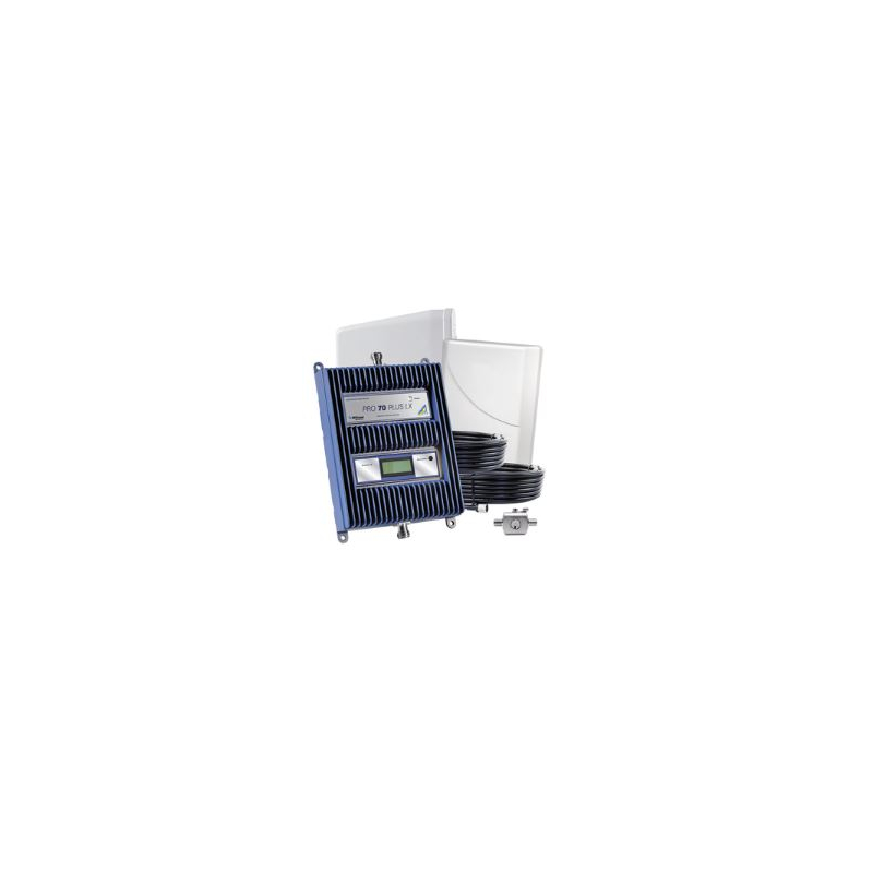 KIT repetidor-amplificador de Señal Celular, Pro 70 Plus LX. Cuatribanda de 77 dB de ganancia, puede cubrir hasta 5000 m². 460-127G