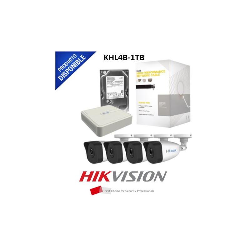 KIT IP 720p / NVR de 4 Canales / 4 Cámaras IP / Bobina de Cable de 100 mts / Disco Duro 1 TB