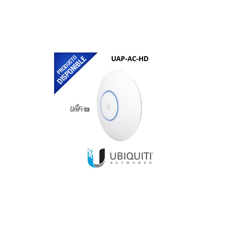 Access Point UniFi HD 802.11ac Wave 2 MU-MIMO 4X4 para alta densidad de usuarios, hasta 500 usuarios WiFi