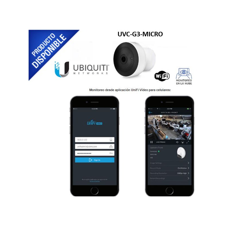 Cámara UniFi miniatura Wi-Fi doble banda (2.4 y 5 GHz) 1080p vista nocturna con micrófono y altavoz integrado