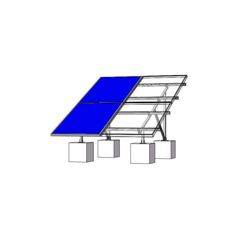Montaje de aluminio en techo o piso de concreto para arreglo 2 x 2 módulos fotovoltáicos de 40mm de espesor