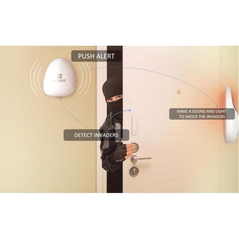Kit de Alarma Inalambrico / Incluye: 1 Hub, 1 Sensor PIR, 1 Detector de movimiento con acelerómetro y 1 Control Remoto / Monitoreo por aplicación móvi